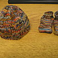 Koigu Booties and Baby Hat